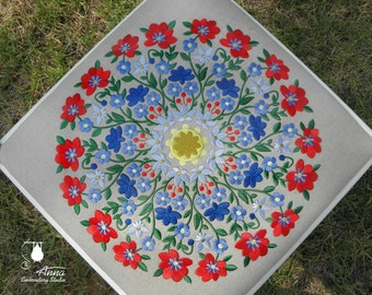 Embroidery on a piece of natural linen. Mandala size of 13.4 inches. Round floral motif. For upholstery, pillows, tablecloths, wall panels