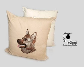 German shepherd pillow, pillow with embroidered dog, pillow with a dog, dog portrait on a pillow. German Shepherd pillow, cristmas gift