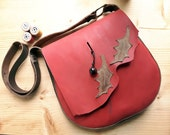 Leather Messenger Bag,across body bag, POD holly 3108 poppy