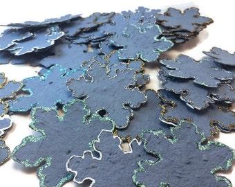 Wildflower Seeded Handmade Paper Snowflake Favors -set of 50