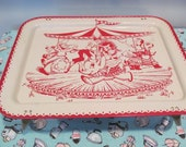 Vintage Childs Metal Folding Lap Tray - Animals Merry Go Round - by La Vada