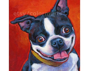 BOSTON TERRIER Dog Original Art Painting on 8x10 canvas by Lynn Culp