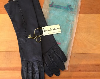 60s Dawnelle Black Leather Opera Gloves, NWT, Size 6-1/2, XS to Small