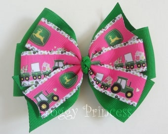 Tractor Bow - Farm Pinwheel Hair Bow - No Slip Velvet Grip
