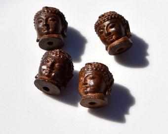 Wood Carved Buudha Head Bead ONE