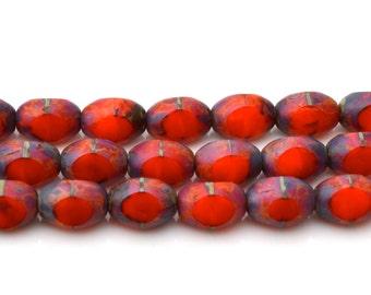 Orange Red Oval Premium Czech Glass Beads 12