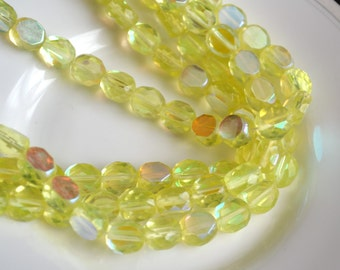 Jonquil AB 10mm Faceted Fire Polish Coin Beads 25