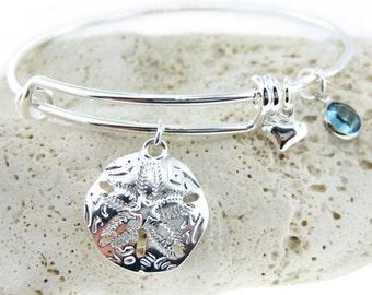 Sand Dollar Adjustable Bangle Bracelet with a Birthstone (BN020A).