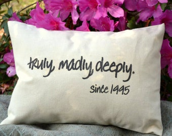 Personalized pillow, cotton anniversary, wedding gift, anniversary gift, personalized with date pillow, newlywed pillow, shower gift