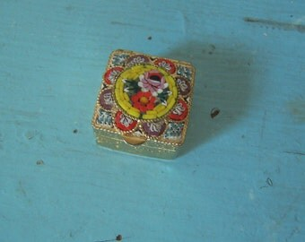 mosaic tiny metal pill box