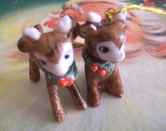 two adorable  porcelain deer ornaments