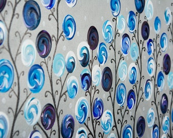 Contemporary wall art Original artwork blue grey whimsical art nursery wall art swirls painting wall decor Impasto canvas art by qiqigallery