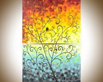 """Christmas sale Acrylic birds painting wall art wall decor decorative art Palette Knife Tree Love Birds Wall hangings """"Dawn"""" by qiqigallery"""