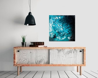 """Christmas gift original abstract painting turquoise square art painting on canvas wall art wall decor """"Go with the Flow 4"""" by QiQiGallery"""
