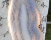 SC-231   Large Piranha Agate Suncatcher Blue & White Banded Agate Art Handcrafted Window Ornament Hanging
