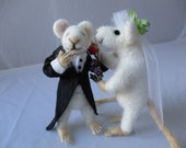 RESERVED Wedding Giggles felted bride and groom mouse