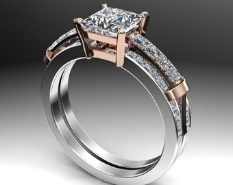 1 Carat Engagement Ring, Princess Cut Diamond with Double Layered Two-Tone Band
