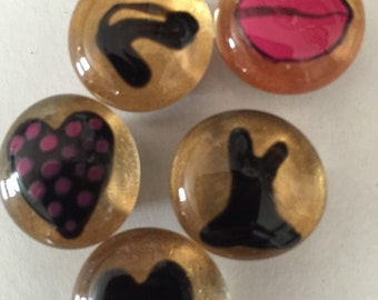 Half off sale Girly lips pumps dress shoes hearts Hand Painted glass gem magnets party favors