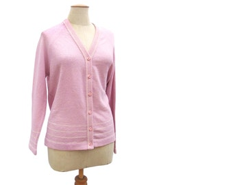 Vintage 70s Sweater Orchid Purple Lavender Striped Cardigan Raglan Sleeves Fully Fashioned Button Front Boucle Cardigan Sweater size Medium