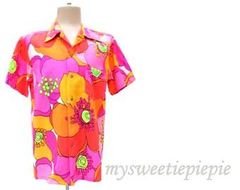 Vintage 60s Hawaiian Shirt Kamehameha Neon Floral Huge Oversized Flowers Orange Hot Pink Lime Green Chartreuse Pointy Collar size Medium