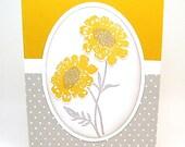 blank card - wildflower blank card - yellow notecard - anytime card