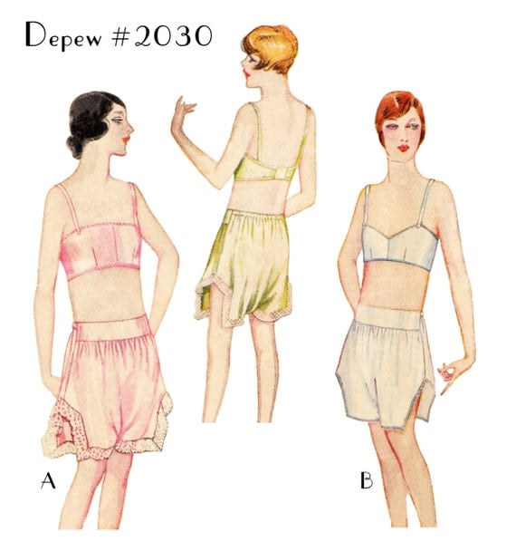 Retro Lingerie, Vintage Lingerie, 1940s-1970s Vintage Sewing Pattern Reproduction 1920s Bandeau Bra and Step-Ins Multi-Size #2030 - PAPER VERSION $18.50 AT vintagedancer.com