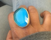 Turquoise Gemstone Quartz Oversize Ring Gold Plated