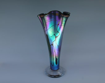 Rainbow - Fluted Vase - Hand blown glass   [Stock #EFV-110]
