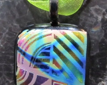Fused Glass Pendant with Ribbon necklace: Bold Detail