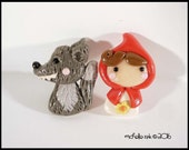 Red Riding Hood & Wolf Polymer Clay Post Earrings