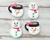 Snowman and Cup Felt Appliques, Snowman Felt Appliques, Embroidered Appliques, Snowman And Cup Appliques, Christmas Felt Appliques