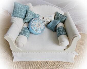 Miniature Dollhouse Furniture...1:12 Scale Dressed Sofa...1 Inch Scale...Arts and Crafts...William Morris Decor OOAK