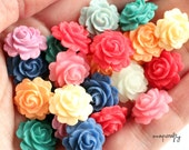14pc whipped frosting roses resin flower cabochons / assorted mix or pairs / 15mm flat back resin rose cabs embellishments / pastels, creams