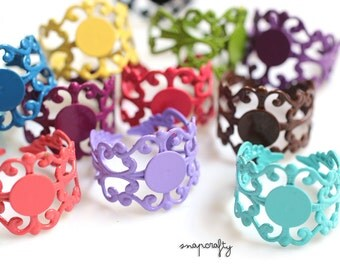 10pc colorful filigree ring blanks / adjustable enamel ring bases / 18 pretty colors / lead, nickel free ring setting / bezel 7mm glue pad