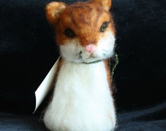 Tabby Cat Needle Felted Wool Finger Puppet