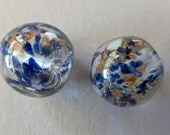 Vintage Czech Lampwork Clear with Blue Specks & Copper Glitter Irregular Round Glass Beads   15mm (2)