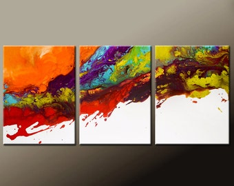 Abstract Canvas Art Painting Huge 3pc 48x20 Original Contemporary Painting by Destiny Womack - dWo -  Edge of Reality