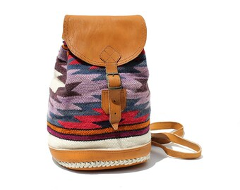 Multiple color Geometric Pattern Wool & Leather Backpack
