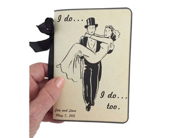 Wedding Vow Books, Set of Two, Our Vows, I do Vows Personalized Retro Wedding, Mid Century Style, Personalization and Date