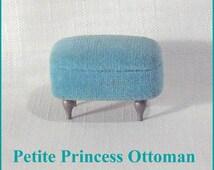 Turquoise Color Ottoman  Footstool  Vintage Ideal Petite Princess Dollhouse Furniture