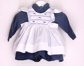 Vintage baby girl's dress navy and white polka dots pinafore  9 months