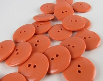 Large Plain Gloss Pumpkin Orange Buttons 24mm 24 pieces