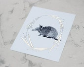 Armadillo- Gold Leafed Archival Print