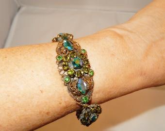 Vintage Green AB Rhinestone Bracelet - Vintage Czech Bohemian Style Made in Germany - Brass Filigree