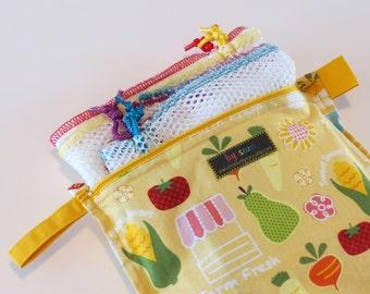 Reusable Mesh Bag Market Set (4 mesh bags & zippered Bulk Bag/stuff sack) - Super strong, super lightweight