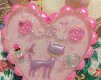Big Princess Kitty Resin Heart Pearl Ribbon Statement Necklace