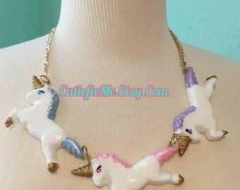 Pastel Unicorns Statement Necklace