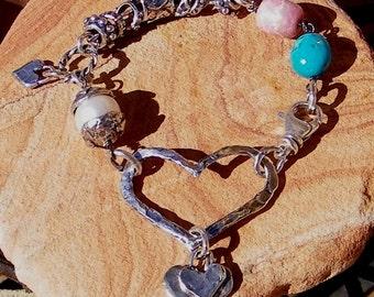 Freshwater Pearl, Rhodochrosite, Turquoise Handcrafted Artisan Sterling Silver Slider Heart Link Bracelet