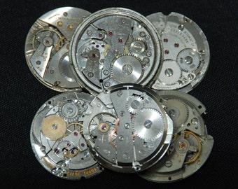Vintage Antique Round Watch Movements Steampunk Altered Art Assemblage CD 66