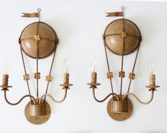 Hot Air Balloon Gilt Gold Italian Electrified Wall Sconces (Set of 2)